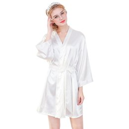 China Fashion simple nightgown Silk-like's Nightgowns Sleepshirts Make-up Robe femme Embroidered Bridesmaid Thin Cardigan Robe supplier nightgown embroidered suppliers