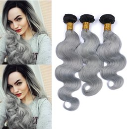$enCountryForm.capitalKeyWord Australia - Ombre 1B Silver Grey Malaysian Body Wave Hair Bundles 2 Tone 10A Ombre Human Virgin Hair Wavy Weaves Remy Hair Extensions