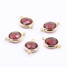Discount connectors for bracelet making - Hot 10pcs Burgundy Round Crystal Connectors Charms 10mm DIY Crystal Jewelry Accessories for Women Necklaces Bracelets Ma