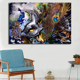 peacock canvas prints Canada - Peacock Phoenix Pahar Ganj Delhi Abstract Canvas Poster Art Painting Universe Wall Picture Print Living Room Bedroom Decoration