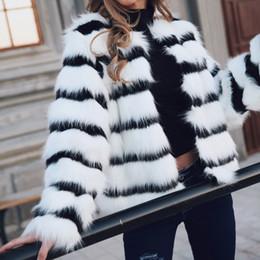 $enCountryForm.capitalKeyWord Australia - Black White Striped Faux Fur Coat 2019 Women Autumn Winter Warm Outerwear Fashion Long-Sleeved Short Style Jacket Chic Coats