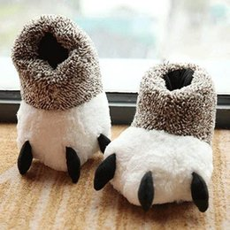 indoor pad 2019 - Winter Fashion Thermal Winter Indoor Cotton Padded Plush Cartoon Bear Claw Non-slip Slippers Home Cotton Slippers Floor