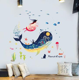 Discount baby girl room wall stickers - Submarine Whale Animal Wall Sticker For Kids Rooms Baby Girls Bedroom Bathroom Tiles Wall Decals Mural DIY Home Decor
