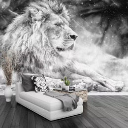 $enCountryForm.capitalKeyWord NZ - Custom Photo Wallpaper Mural Black and White Animal Lion Papier Peint Mural 3D Living Room Sofa Bedroom Background Decor Paper