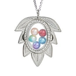 $enCountryForm.capitalKeyWord Australia - Rhinestone Leaf Magnetic Glass Open Pearl Cage Locket Floating Living Memory Charms Necklace With Stainless Steel Chain for Jewelry Making