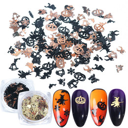 Nails flake online shopping - Mix Black Gold Metal Decorations Nail Art Flakes Pumpkin Witch Spider Bat D Slice Halloween DIY Supplies