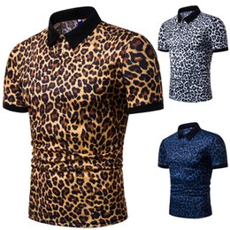 T Shirt Leopard Fashion Men Australia - New 2019 European yards men shirts men lapel leopard print with short sleeves Fashion man hot t-shirt