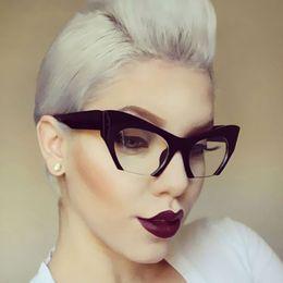 Piccolo Mezza cornice di occhiali donne del progettista di marca ottico del leopardo di modo Eyewear gatto signore degli occhi in Offerta