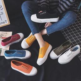 Pedal Orange Australia - Bright2019 Season Shell Canvas Schoolgirl All-match Shoes One Pedal Dawdler Cloth Shoe You