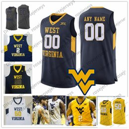 c311f1ebe Custom West Virginia Mountaineers College Basketball white navy yellow Stitched  Any Name Number 2 Jevon Carter 50 Sagaba Konate WVU Jerseys