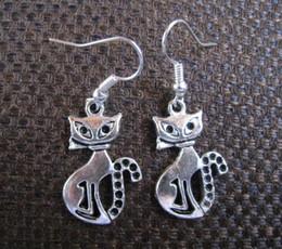 TibeTan charms caTs online shopping - Charming Cat Tibetan Silver Dangle Earrings Fashion Pair Hook Earrings For Women Jewelry Party Drop Friendship Gift Charms