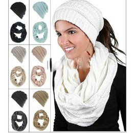 e4f00d4ae7a Hat Scarves Sets 13 Colors headband Ponytail Hats Infinity Scarf Winter  Warm Knitted Beanies Cricle Ring Scarves Hats CNY839