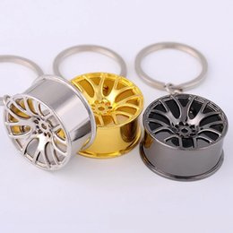 Wholesale New Design Wheel Hub Metal Car Wheel Keychain Key Chain Ring Holder Men Women Jewelry Pendant Cute Charm Keyring Gift