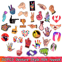 stick guitar NZ - 50 PCS Waterproof Finger Gesture Stickers than heart thumb for Taking Photos Decor DIY Home Laptop Skateboard Luggage Guitar Motorcycle Gift
