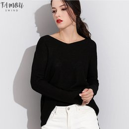Wholesale off shoulder jerseys online – Women Sweaters And Pullovers Knitted Female Sweater V Neck Long Knitwear Long Sleeve Jersey Off Shoulder Sweaters Pull