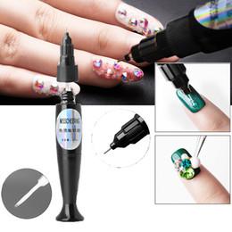 Adhesive sticky glue online shopping - Misscheering Magnetic Pen DIY Art Nail Polish Drill Pencil Glue Nail free Rhinestone Adhesives Sticky Tools UV Gel ML L0625