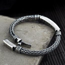$enCountryForm.capitalKeyWord Australia - 2019 Vintage Real Pure 925 Sterling Silver Turkish Hand-woven Bracelet Personality For Men Jewelry Mens Bracelets