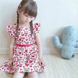 4cef41453 2019 niños niñas imprimir osos dulces del corazón vestidos de niña de  verano vestido de tutú rojo niños ropa al por mayor