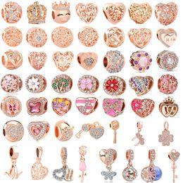 $enCountryForm.capitalKeyWord Australia - 50pcs lot(each for one) pink rose gold european mixed charm bead&clip fit pandora charms bracelet for women diy jewelry B11