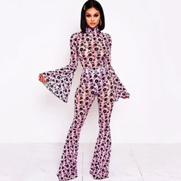 Wholesale two piece sheer outfit for sale – dress Mesh Sheer Floral Print Two Piece Set Women Festival Clothing Bodycon Bodysuits Flare Pant Suits Matching Piece Club Outfits T200608