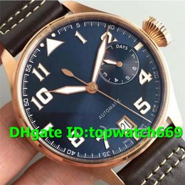 luxury brown leather watch Australia - ZF Top Luxury Mens Watch 500909 Watch 18K Rose Gold Case Blue Dial on Brown Leather Strap Swiss 51111 Automatic Movement Sapphire Crystal