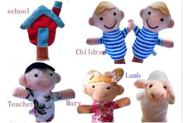Used Toys Wholesale NZ - 60pcs=10lot Finger Puppet Tell story baby plush toys RPG use Role play Doll Hand Puppet Mary had a little lamb Animal Toy Group