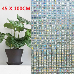 Großhandel 3D Fenster Privatsphäre statische dekorative Folie nicht klebende Wärmesteuerung Anti UV quadratische Mosaikfolie PVC 45x100 cm