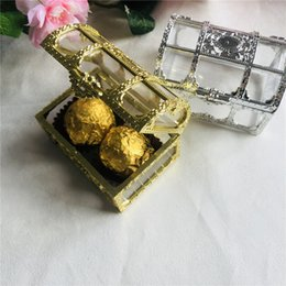 baby shower candy Canada - 24pcs Wedding Candy Box Gold Silver Wedding Decorations Plastic Candy Box Baby Shower Favors Boxes