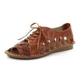 Lace Peep Toe Flats Australia - Peep Toe Flat With Rome Gladiator Women Sandals Flat Basic Shallow Cover Heel Boho Shoes Shallow Plus Size Lace-Up Sandals