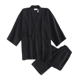 0de37cdd94d Black SPA homewear kimono robes for male 100% cotton pajamas sets Japanese  sauna robes Male Dressing Gown Pajamas set A9092