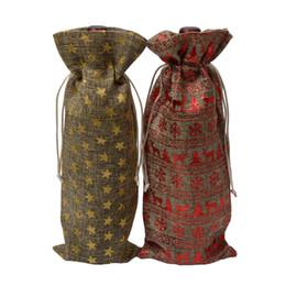Gifts Blind Australia - Rustic Hessian Burlap Champagne Wine Blind Packaging Gift Bag Gold Plated Natural Jute Wine Bottle Cover Bags Christmas Wedding Dinner Decor