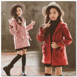 princess line winter long coats UK - Girls woolen princess outwear kids hooded pearls flare sleeve trench coat fall winter children Bows double pocket thicken overcoat J0538
