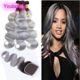 Discount free hair bundles - Brazilian Virgin Hair 1B Grey Ombre Hair 3 Bundles With 4*4 Lace Closure 1B Grey Body Wave Human Hair Wefts With Closure
