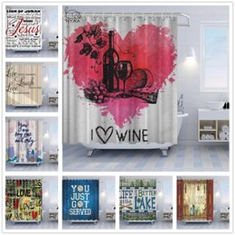 curtains styles designs UK - Text Design Personality Shower Curtains Red Love Vintage Bathroom Bath Curtain Decorations I Love Wine You Are My Only Text Bathroom Curtain