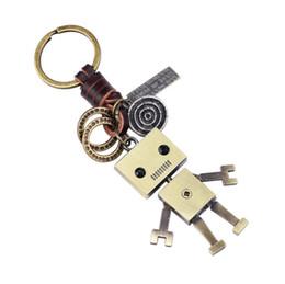 $enCountryForm.capitalKeyWord Australia - Vintage Key Rings Jewelry Creative Persaonlity Fashion High Quality Knitting Leather Antique Bronze Plated Alloy Robot Keychains Gift LK002
