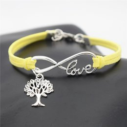 $enCountryForm.capitalKeyWord NZ - 2019 Vintage Fashion Yellow Leather Suede Bracelet Infinity Love Christmas Tree Of Life Bangles For Women Men Charm Jewelry Accessories Gift