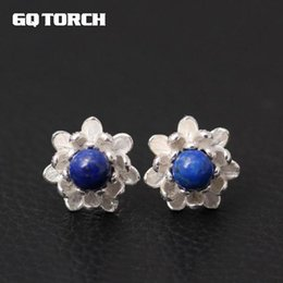 $enCountryForm.capitalKeyWord Australia - GQTORCH 925 Sterling Silver Flower Lotus Earrings China Wind Beautiful Art With Natural Lapis Lazuli And Pearls Fine Jewelry