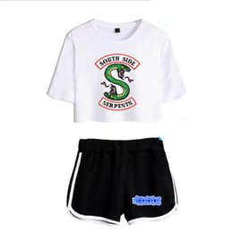 $enCountryForm.capitalKeyWord UK - Women Two Piece Outfits Riverdale Southside Serpents 2 Piece Set Crop Top And Short Pants Tracksuit For Women Sets Clothes Y19042901
