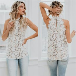 30fc48343a1833 DHL Womens Summer Casual Lace Crochet Flowy Loose Shirts Tank  TopsSleeveless Tops Sexy Halter Hollow Out Tanks Blouse