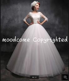 $enCountryForm.capitalKeyWord Australia - Fashion 2019 new designer white lace beading three quarter sleeve wedding dress open back sexy corset puffy gorgeous bride dress hot sale