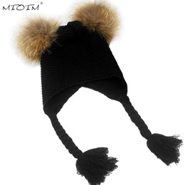 Discount hat two balls - MIOIM Winter Baby Knit Hat With Two Fur Pompoms Boy Girls Natural Fur Ball Beanie Kids Caps Double Faux Pom Pom Hat Baby