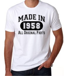 Birthday Party T Shirts Australia - 60th Birthday Made In 1958 Original Parts Funny Present Party Mens White T Shirt