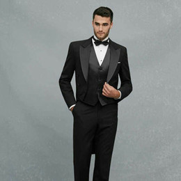 tailcoats costumes Australia - Vintage Black Tailcoat Long Jacket Men Suits for Wedding Groom Tuxedo Peaked Lapel Groomsmen Attire 3Piece Costume Homme Terno Masculino