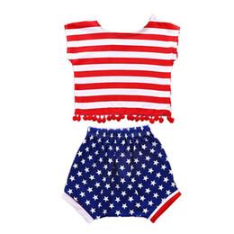 $enCountryForm.capitalKeyWord UK - 2T Toddler Girl Shorts Set Summer Baby Girls Casual Sleeveless Striped Print Vest Tops With Tassel+Star Shorts Suits Costume Set
