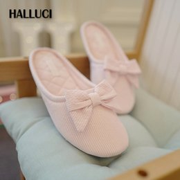 $enCountryForm.capitalKeyWord Australia - HALLUCI Bowknot candy color cotton home slippers shoes for women flip flops simple striped bedroom slippers sapatos