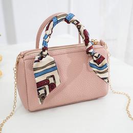 $enCountryForm.capitalKeyWord Australia - 2019 Scarf Mini Women Boston Handbag PU Leather Pillow Pack Sling Shoulder Crossbody Messenger Bag Small Chain Hand bag for Girl