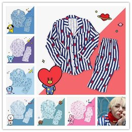 $enCountryForm.capitalKeyWord Australia - Kpop Bangtan Boys Cartoon Version V Suga Jungkook Same Harajuku Pajamas Men Women Long Sleeve Shirt Nighty Nightwear Set Gifts J190517