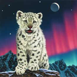 $enCountryForm.capitalKeyWord Australia - Diamond Painting Full Square  Round Drill 5D Daimond Painting Picture White Tiger on The Mountain Aurora Gem Stitch Crystal L093