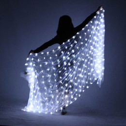 $enCountryForm.capitalKeyWord NZ - 217x109cm Belly Dance LED Scarf Veil Silk Polyester White Rainbow Belly Dance Veil Stage Performance Props For Halloween Party