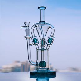 $enCountryForm.capitalKeyWord Australia - Green Tall Glass Oil Rigs Recycler Dab Bongs Water Pipes Smoking Thick Heady Glass Water Bong With Inline Perc 14mm Bowl Shisha Hookahs